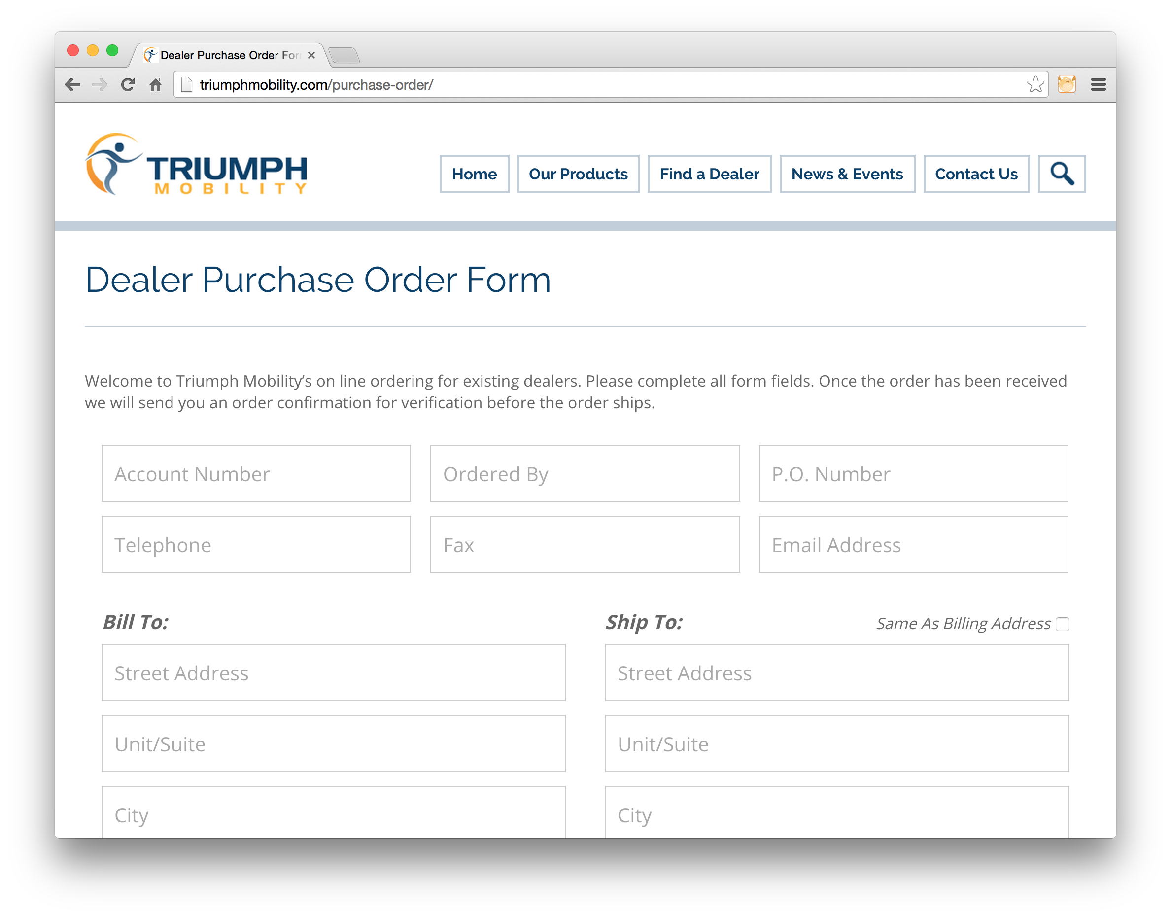 purchase order online form