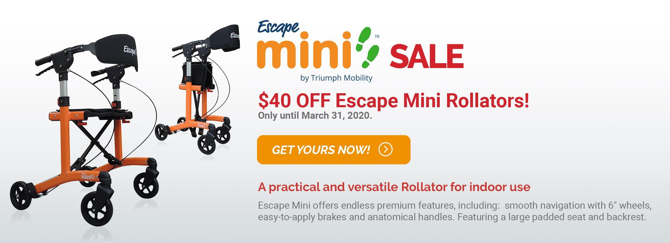 Escape Mini Sale - $40 OFF Escape Mini Rollators
