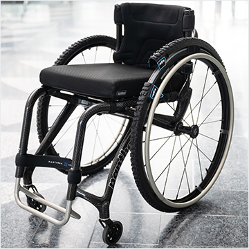 reTyre Traction Skins on wheelchair